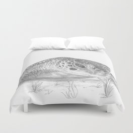 A Green Sea Turtle :: Grayscale Duvet Cover