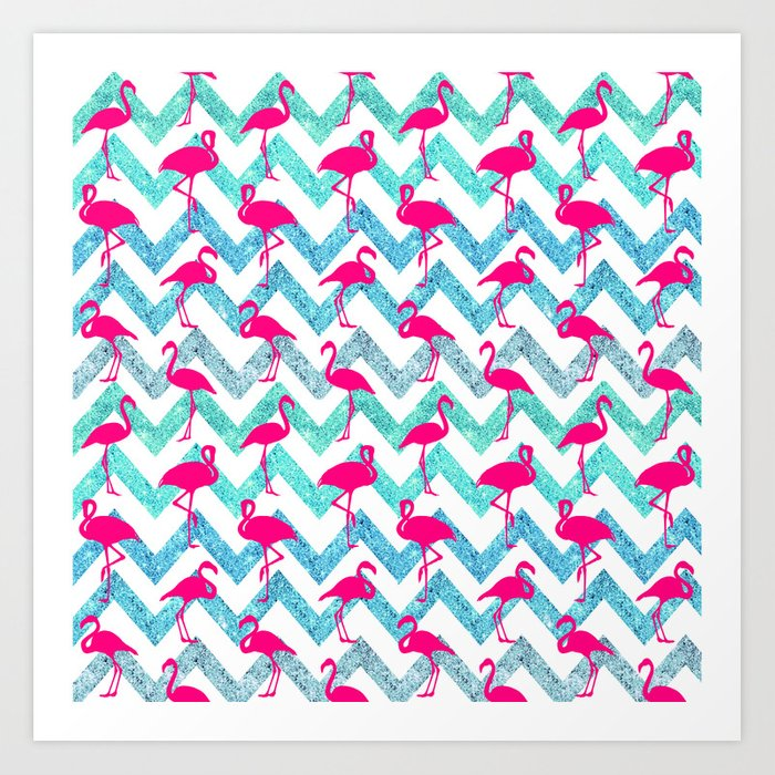 Go Flamingo! Tropical Pink Neon Flamingos Teal Glitter Chevron Art Print