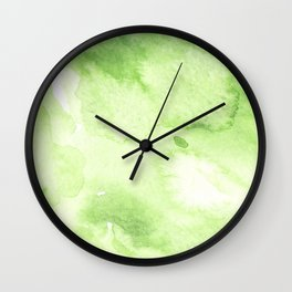 Watercolor abstraction, green background, handmade. Wall Clock