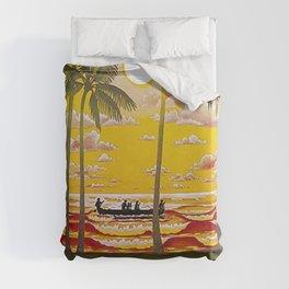 Surf Hawaii, Outrigger, Fly Hawaiian Air Vintage Travel Poster Duvet Cover