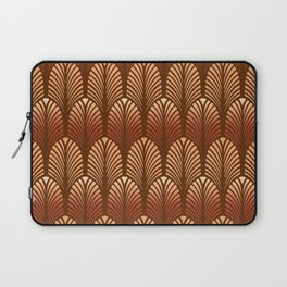 Art Deco Feather Pattern, Copper and Brown Laptop Sleeve