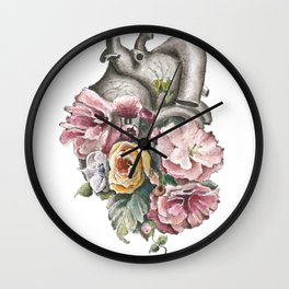 Flowers heart art cute 2018 Wall Clock