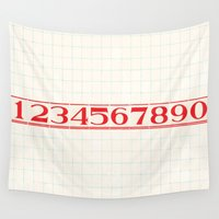 numbers Wall Tapestries featuring vintage numbers by sweetgrasspapercompany