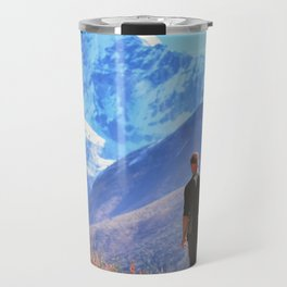 Man hiking on a stone   view in the himalayas,   Ama Dablam ,Nepal Travel Mug