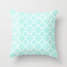 MOROCCAN {TEAL & WHITE 2} Throw Pillow