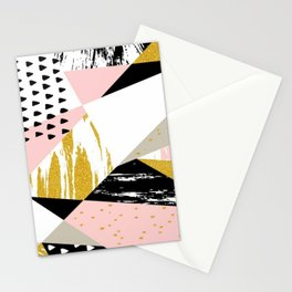 Geometric Gold Pink Pattern Stationery Cards