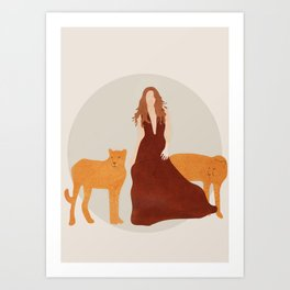 Woman with Cheetahs Art Print