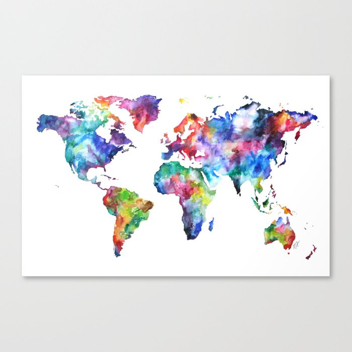 World Map Watercolor Painting Canvas Print by audreydeford | Society6