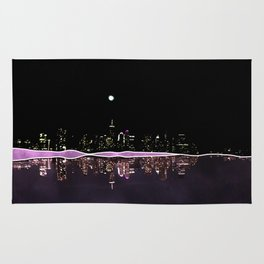 Moonlight In The City Skyline Design Rug