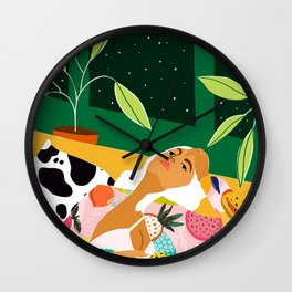 Moon Lover, Bold Quirky Fashion Illustration, Eclectic Decor Modern Bohemian Plant Lady Wall Clock