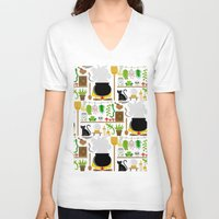 lab V-neck T-shirts featuring Witch's lab by Ana Linea