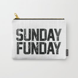 Sunday Funday Dirty Vintage Varsity Typography Print Carry-All Pouch