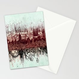 New York skyline drawing collage 3 Stationery Cards