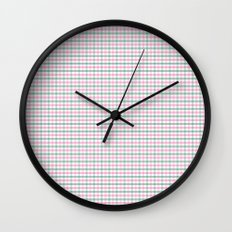 Gingham pink and forest green Wall Clock