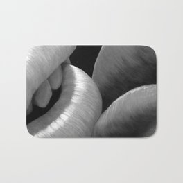 Kissing Lips black&white - Erotic Art Illustration Sex Sexual Love Lovers Relationship Couple Kiss Bath Mat