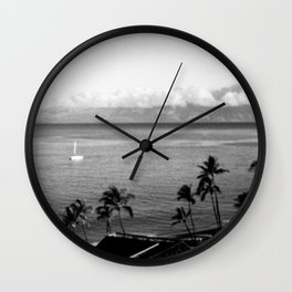 Panorama of Kaanapali Beach in Maui, Hawaii in Black and White - View of Lanai Wall Clock