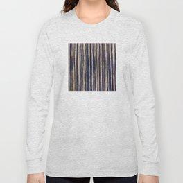 Vertical Scratches on Dark Blue Metal Texture Long Sleeve T-shirt
