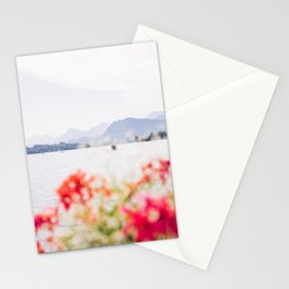 Boat On Lake Luzern Switzerland - Flowers and Mountain View Stationery Cards
