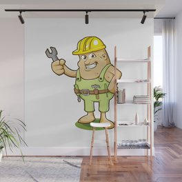 potato worker cartoon Wall Mural
