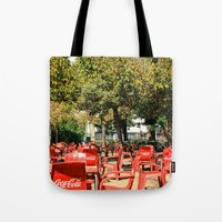 coke Tote Bags featuring COKE CHAIR COKE CHAIR by Pitter Patterns