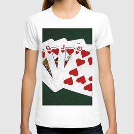 Poker Royal Flush Hearts T-shirt