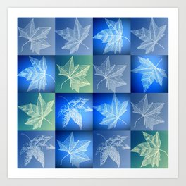 blue leaf drawings Art Print