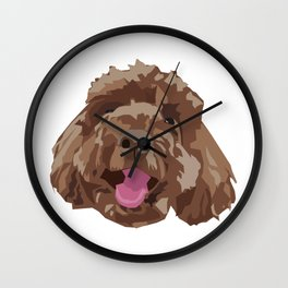 Brown Poodle Happy Dog Face Wall Clock
