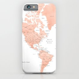 """Rose gold world map with cities, """"Hadi"""" iPhone Case"""