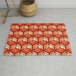 Japanese Cranes, Mandarin and Light Orange Rug
