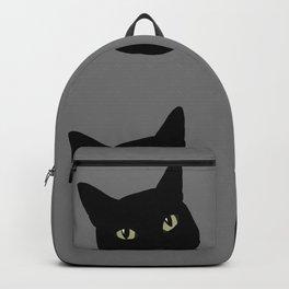 can I pet your cat? no. black cat portrait Backpack