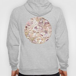 Dusty Rose and Coral Art Deco Marbling Pattern Hoody