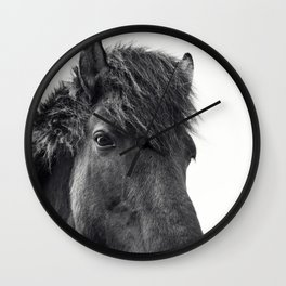 Fuzzy Horse Photograph in Black and White Wall Clock