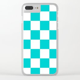 Large Checkered - White and Cyan Clear iPhone Case
