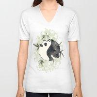 yin yang V-neck T-shirts featuring Yin Yang by Sah Matsui