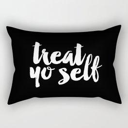 Treat Yo Self black and white typography poster black-white design home decor bedroom dorm wall art Rectangular Pillow