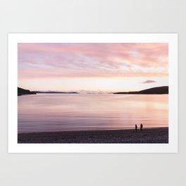 Sunset lovers, Highlands, Scotland   landscape nature pink photo orange view panorama print poster Art Print