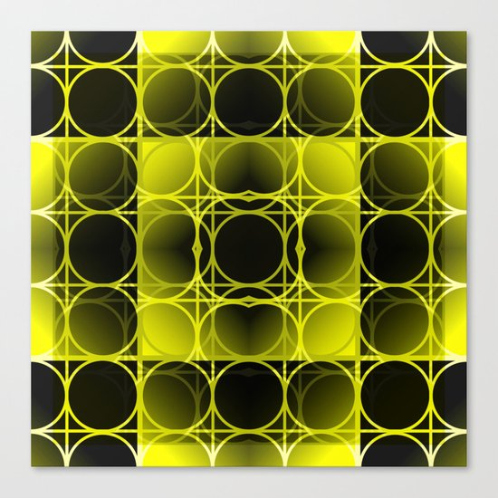 Circles, Grids and Shadows in Black and Yellow Canvas Print