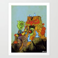 Feeding A Totem With Psychic Orb Art Print