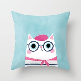 Ooh la la! Antoinette the Parisian cat Throw Pillow