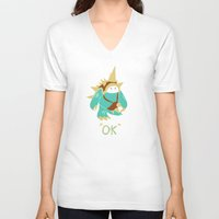 kim sy ok V-neck T-shirts featuring Ok by YiannisTees