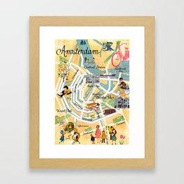 Vintage Amsterdam Map Collage poster print, wall art Framed Art Print