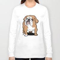 english bulldog Long Sleeve T-shirts featuring English Bulldog cartoon by DogiStyle