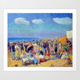 William James Glackens Crowd at the Seashore Art Print