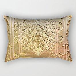Golden vintage damask with a twist Rectangular Pillow