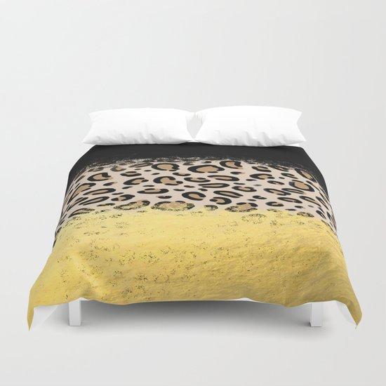 Wilder - black gold foil cheetah print animal pattern spots dots bold modern design sparkle glitter Duvet Cover
