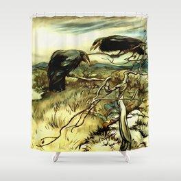 The Two Crows Shower Curtain