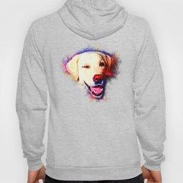 labrador retriever dog winking splatter watercolor Hoody