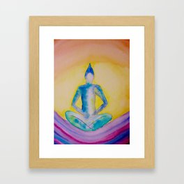 Sitting buddha on waves Framed Art Print