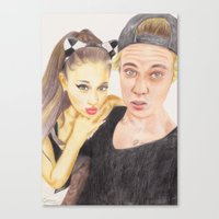 ariana grande Canvas Prints featuring Ariana and Justin by Share_Shop