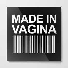 MADE IN VAGINA BABY FUNNY BARCODE (Black & White) Metal Print